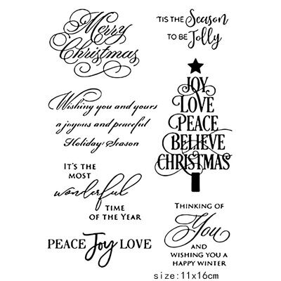 Silicone Christmas Tree Stamp Clear Rubber Stamps DIY Scrapbook Crafts Tool US