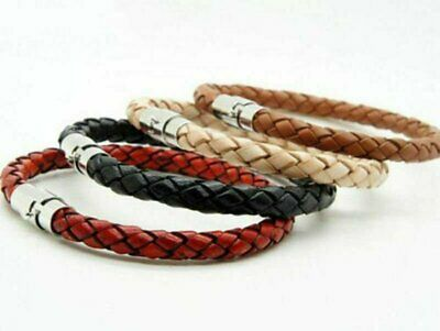 Mens Womens Silver Stainless Steel Magnetic Clasp Braided Leather Bracelet