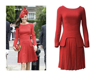 Custom made Kate Middleton style red faux two piece peplum dress pleated skirt