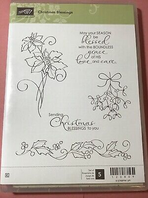 Stampin Up Christmas Blessings NEW Set of 5 Clear Mount