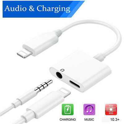 2in1 Audio Splitter Adapter Charger 3-5mm Earphone For iPhone 7 8 X Plus XR MAX