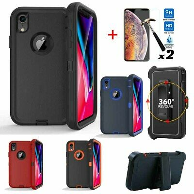 For Apple iPhone XR XS Max Case Armor Phone Cover-Screen Protector-Belt Clip