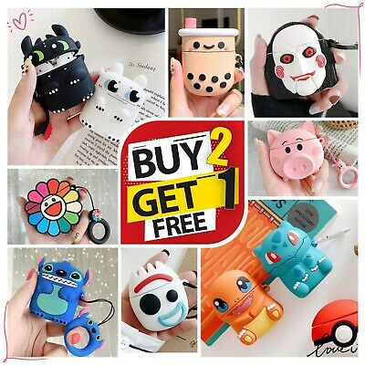New AirPods Cute 3D Cartoon Silicone Case Cover Protective for Apple Airpod 2 1