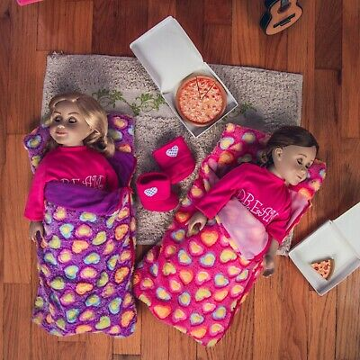 18 Inch Doll Accessories TWO SLEEPING BAGS Pink - Purple  Fits American Girl