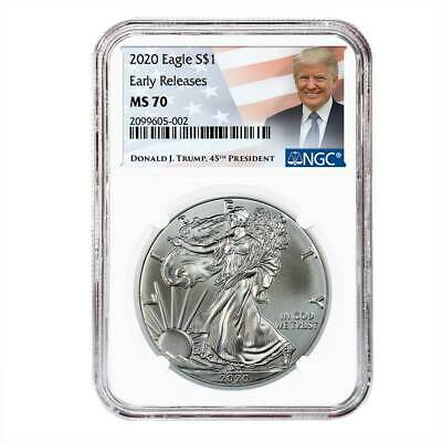 2020 1 American Silver Eagle NGC MS70 ER Trump Label