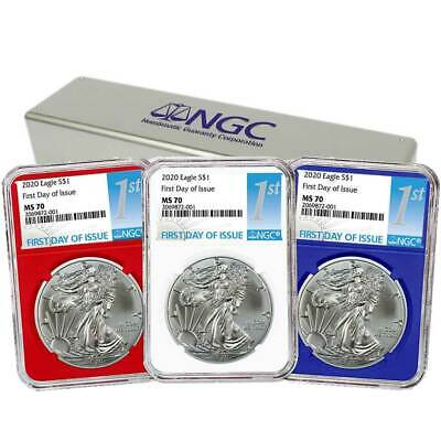 2020 1 American Silver Eagle 3pc- Set NGC MS70 FDI First Label Red White Blue