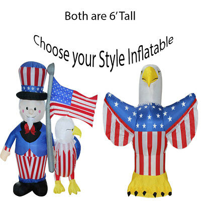 4th of July Inflatable Airblown Yard Decoration Uncle Sam Eagle American Flag