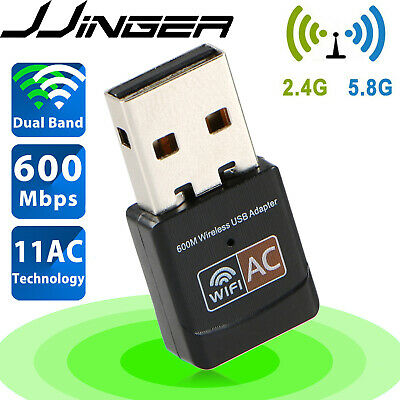 600Mbps Wireless USB Ethernet PC WiFi AC Adapter Lan 802-11 Dual Band 2-4G  5G