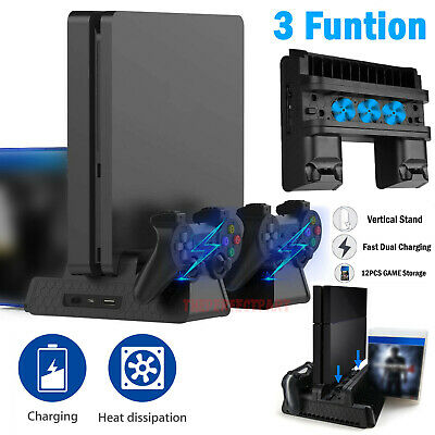 For PS4 Pro  Slim Vertical Stand - Cooling Fan Controller Charging Dock Station