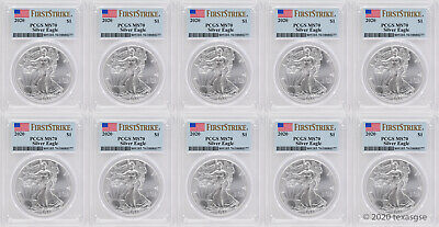 2020 1 American Silver Eagle PCGS MS70 FS - Lot of 10 - IN STOCK-READY TO SHIP