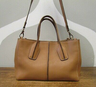 TODS AUTHENTIC Camel Leather Crossbody Bag Purse Tote bauletto Kate Middleton