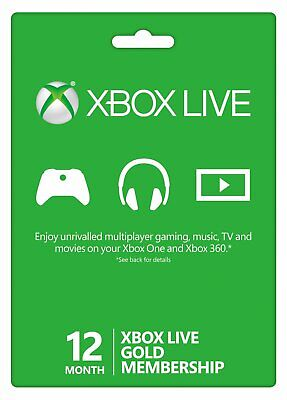 Microsoft Xbox Live Gold 12 Month  1 Year Membership Quick Delivery