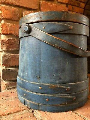 Great anique primitive old worn blue paint firkin aafa