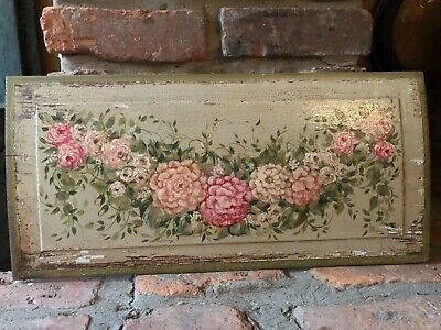 Gorgeous hand painted flowers on antique wood board-