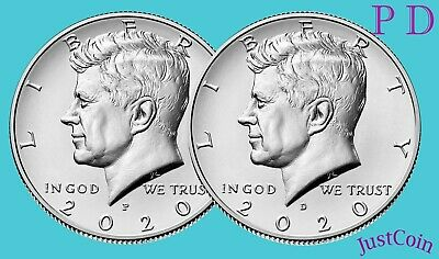 2020 P-D KENNEDY HALF DOLLAR SET CLAD TWO COINS SET UNCIRCULATED PRESALE