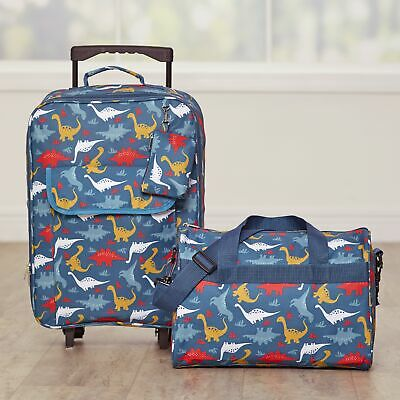 Dinosaur Luggage Set for Kids with Rolling Bag Tote with Shoulder Strap - 2 Pc-
