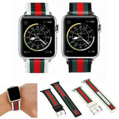 For Apple Watch Series 5 4 3 2 443842 Stripe Pattern Replacement Leather Band