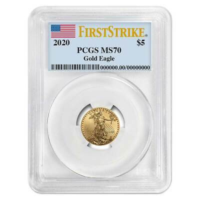 2020 5 American Gold Eagle 110 oz- PCGS MS70 First Strike Flag Label