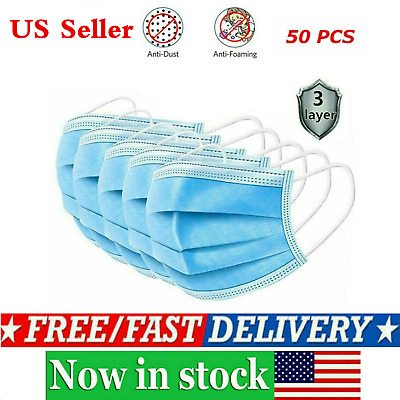 50pcs Face Mouth Cover Respirator 3-Layers Protection FAST SHIPPING