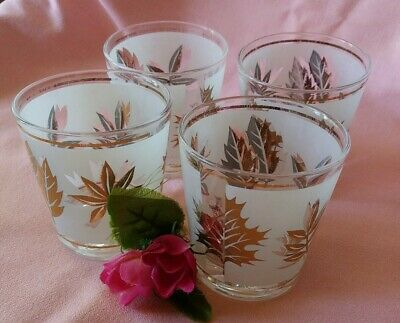 Vintage Set of 4 Mid Century Barware Starlyte Gold Leaf Pattern Low Ball Glasses