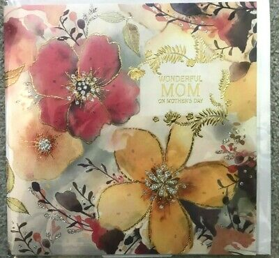 Large Mothers Day Card 8X8- Silver Glitter - Gold flowers - Wonderful Mom