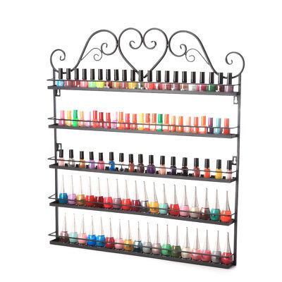 5 TIER Wall Nail Polish Display Rack Organizer Shelf Stand Fit Up To 100 Bottles