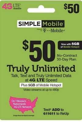 Simple Mobile 50 Plan 30Day  Unlimited Talk Text - Data - Internationals Talk