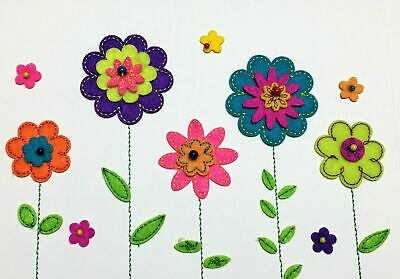 Papyrus Mothers Day card - Colorful Handmade Felt Flowers with Beads Embroidery