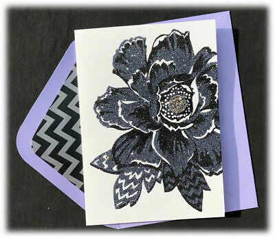 Gorgeous Papyrus Mothers Day card - Rhinestones on Black Glitter Flower Flores