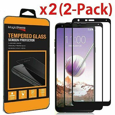 2 Pack For LG Stylo 5  6 Plus Full Coverage Tempered Glass Screen Protector