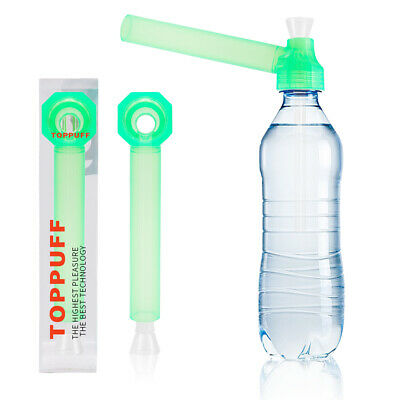 Green Top Puff Portable Hookah Screw on Bottle Converter Water Glass Bong Pipes