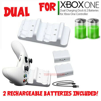 For XBOX ONE Controller Dual Charging Dock Station Charger White - 2 Battery USA