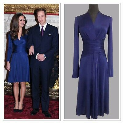 Custom made Kate Middleton Blue Engagement Dress 100 Double silk jersey As Issa