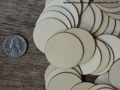 50 count 1-5 inch wood CIRCLE shape DIY 1-12 inch wooden coin craft piece round
