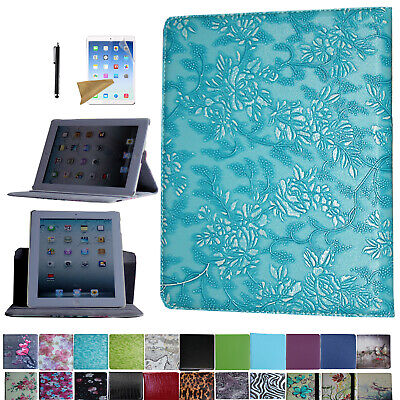 For iPad 2 2011 A1395 A1396 A1397 Rotating Case Cover With Screen Protector Pen