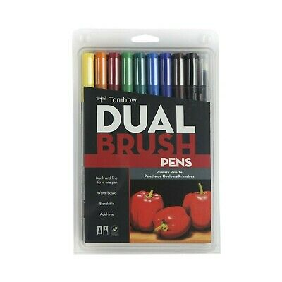Tombow Dual Brush Pen Art Markers - Primary Palette 10-Pack