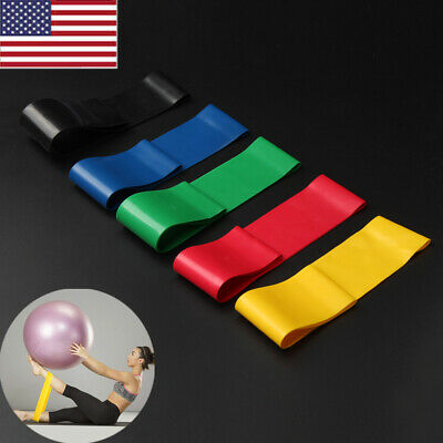 Set of 5 Workout Resistance Loop Band Yoga Crossfit Fitness Pilates Leg Exercise