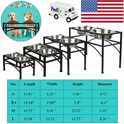 Elevated Raised Pet Dog Feeder Dish Stainless Steel Food Water Stand - 2 Dishes