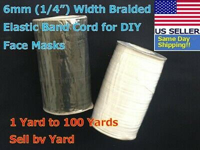 BY YARD 6mm 14 Width Braided Flat Elastic Band Cord Face Mask White Black