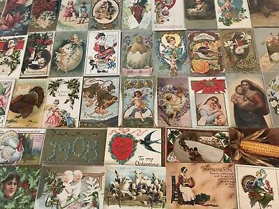 Lot of 100 Holiday Greetings Post Cards Christmas Easter Thanksgivingetc-44