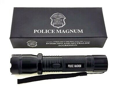 POLICE MAGNUM Metal Stun Gun 68 Million Volt Rechargeable with Flashlight Black