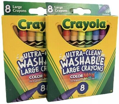 Crayola Large Washable Crayons 8 Colors - 2 Packs 16 Total Crayons