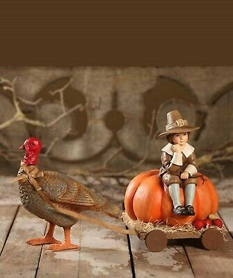 Bethany Lowe Thanksgiving Turkey And Buggy TD6063 New