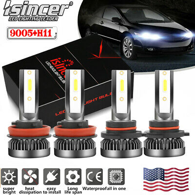 4-Side 9005-9006 Combo LED Headlight Kit 120W 32000LM HiLo Beam Bulbs 6000K USA