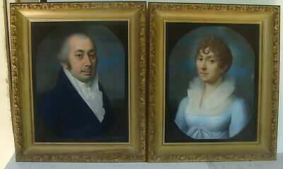 gorgeous pair of early 19th C framed pastel portraits