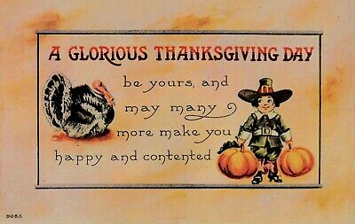 Vintage Thanksgiving Postcard  A GLORIOUS THANKSGIVING DAY  Unposted