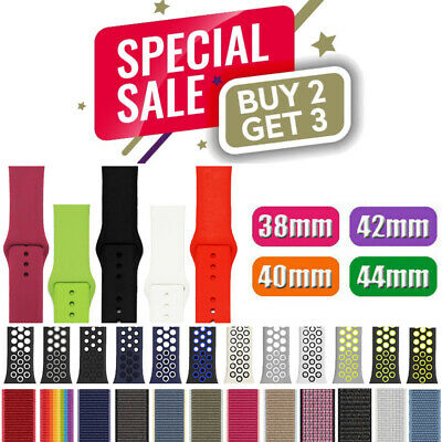 Nylon Silicone Strap Band for Apple Watch Sports Series 54321 38404244mm