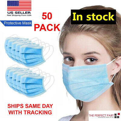 50 PCS Face Mask MEDICAL Surgical Dental Disposable ASTM LEVEL 3 Mouth Cover Ear