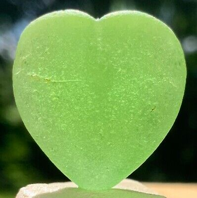 Genuine Sea Glass Stunning JQ Large Bright Lime Green Heart
