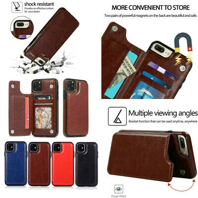 For iPhone 11 Pro Max 6 7 8 Plus Xr Leather Magnetic Flip Wallet Card Case Cover